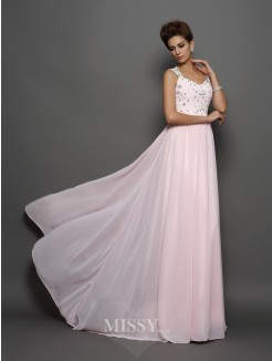 A-Line/Princess Sleeveless Straps Chiffon Beading Sweep/Brush Train Dresses