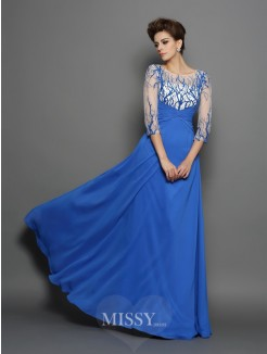 A-Line/Princess Scoop 1/2 Sleeves Applique Floor-Length Chiffon Dress