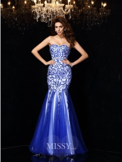 Sheath/Column Sleeveless Sweetheart Beading Net Floor-Length Dresses