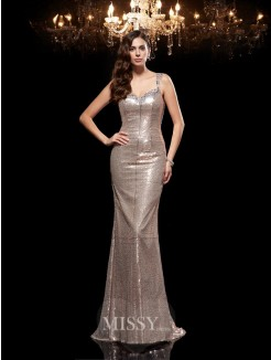 Sheath/Column Sleeveless Straps Sequins Sweep/Brush Train Dresses