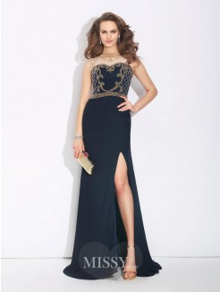 A-Line/Princess Sleeveless Jewel Beading Sweep/Brush Train Chiffon Dress