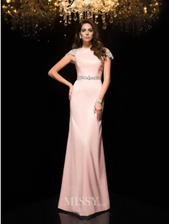 Sheath/Column Jewel Short Sleeves Beading Satin Floor-Length Dresses
