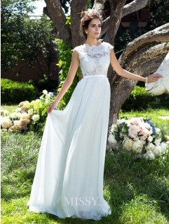 A-Line/Princess Sleeveless Scoop Applique Chiffon Sweep/Brush Train Dresses