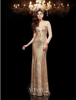 Trumpet/Mermaid Scoop 3/4 Sleeves Lace Sequins Floor-Length Dresses