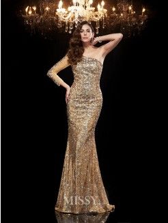 Trumpet/Mermaid One-Shoulder 3/4 Sleeves Sequins Floor-Length Dresses