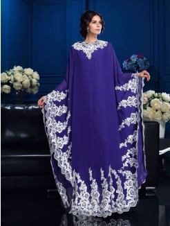 A-Line/Princess Scoop Long Sleeves Applique Floor-Length Chiffon Mother Of The Bride Dress