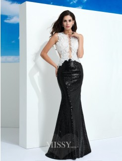 Sheath/Column Sleeveless Scoop Paillette Floor-Length Lace Dresses