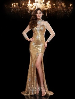 Trumpet/Mermaid High Neck 3/4 Sleeves Sequins Sweep/Brush Train Dresses