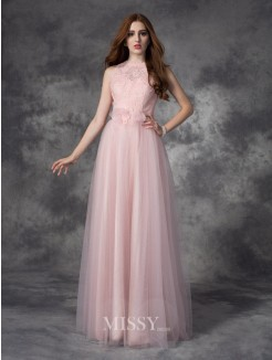 A-Line/Princess Bateau Sleeveless Hand-Made Flower Floor-Length Net Dresses