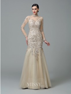 Sheath/Column High Neck Long Sleeves Applique Floor-Length Net Dresses