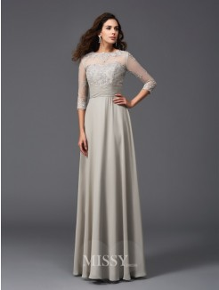 A-Line/Princess Scoop 3/4 Sleeves Applique Chiffon Floor-Length Dresses