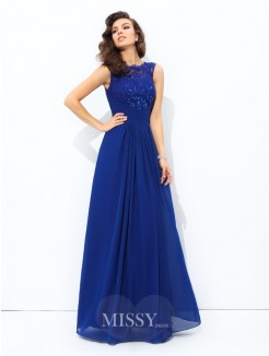 A-Line/Princess Sleeveless Scoop Floor-length Chiffon Lace Dresses