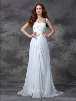 A-line/Princess Sleeveless One-Shoulder Beading Sweep/Brush Train Chiffon Dress