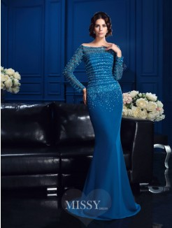 Sheath/Column Off-the-Shoulder Long Sleeves Beading Sweep/Brush Train Chiffon Mother Of The Bride Dresses