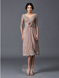 A-Line/Princess 1/2 Sleeves V-neck Hand-Made Flower Tea-Length Lace Mother of the Bride Dresses
