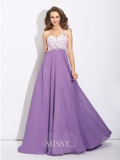 A-Line/Princess One-Shoulder Crystal Sleeveless Sweep/Brush Train Chiffon Dress