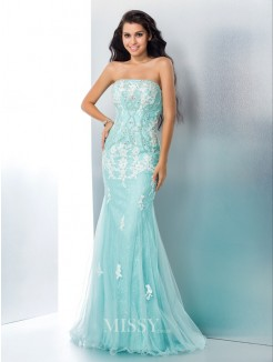 Trumpet/Mermaid Strapless Sleeveless Applique Lace Sweep/Brush Train Gown