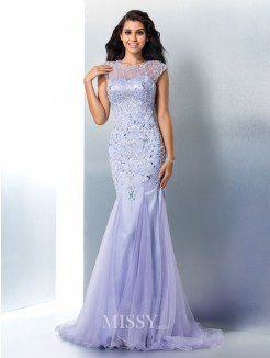 Trumpet/Mermaid Sleeveless Sheer Neck Beading Satin Sweep/Brush Train Gown
