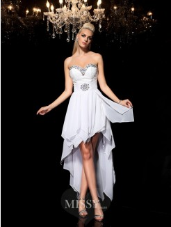 A-Line/Princess Sleeveless Sweetheart Beading Asymmetrical Chiffon Cocktail Dresses