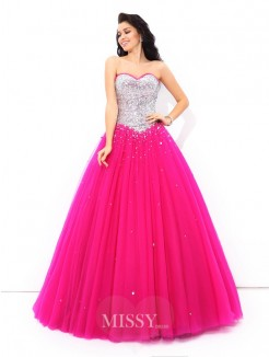 Ball Gown Sleeveless Sweetheart Beading Floor-Length Satin Quinceanera Dresses