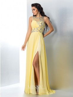 A-Line/Princess Sleeveless Sheer Neck Beading Chiffon Sweep/Brush Train Gown