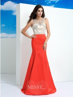 Trumpet/Mermaid Sleeveless Sheer Neck Beading Floor-Length Satin Dresses