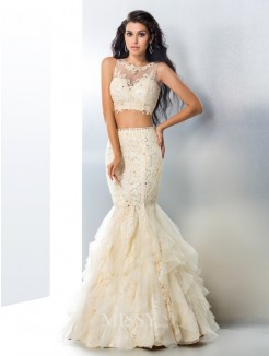 Trumpet/Mermaid Sleeveless Sheer Neck Beading Tulle Floor-Length Gown