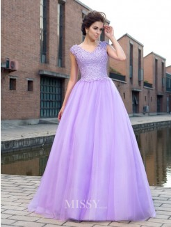 Ball Gown V-neck Short Sleeves Net Floor-Length Applique Dresses