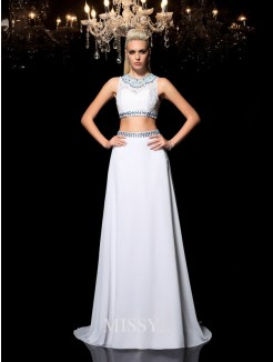 A-Line/Princess Jewel Sleeveless Beading Floor-Length Chiffon Two Piece Dresses