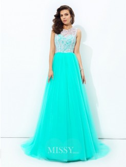 A-line/Princess Sleeveless Scoop Lace Sweep/Brush Train Net Dresses