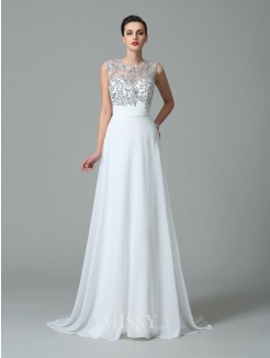 A-Line/Princess Jewel Sleeveless Beading Sweep/Brush Train Chiffon Dresses