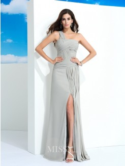 Sheath/Column Sleeveless One-Shoulder Pleats Floor-Length Chiffon Dresses
