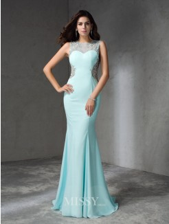 Trumpet/Mermaid Jewel Sleeveless Beading Sweep/Brush Train Chiffon Dresses