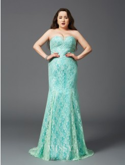 Sheath/Column Strapless Sleeveless Lace Court Train Satin Plus Size Dresses