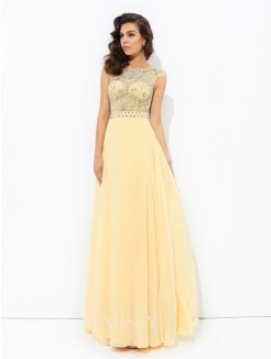 A-Line/Princess Sleeveless Bateau Beading Chiffon Floor-Length Dresses