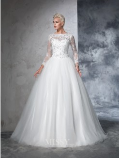 Ball Gown Long Sleeves Bateau Net Lace Sweep/Brush Train Wedding Dresses