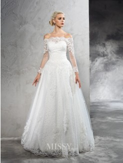 Ball Gown Off-the-Shoulder Long Sleeves Lace Floor-Length Net Wedding Dresses
