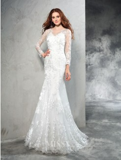 Sheath/Column Sheer Neck Long Sleeves Lace Sweep/Brush Train Net Wedding Dresses