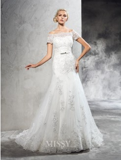 Sheath/Column Off-the-Shoulder Short Sleeves Applique Court Train Net Wedding Dresses