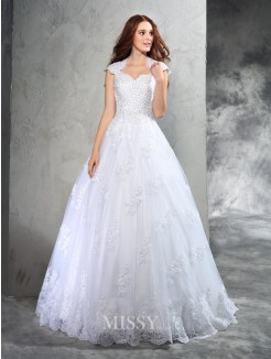Ball Gown Sleeveless Sweetheart Lace Court Train Organza Wedding Dresses