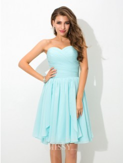 A-Line/Princess Sleeveless Sweetheart Pleats Mini Chiffon Bridesmaid Dress