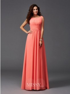 A-Line/Princess Sleeveless Scoop Ruffles Sweep/Brush Train Chiffon Bridesmaid Dresses