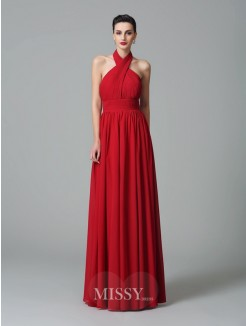 A-Line/Princess Halter Sleeveless Ruffles Floor-Length Chiffon Bridesmaid Dresses