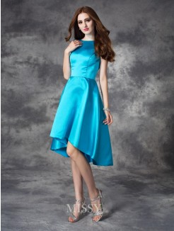 A-line/Princess Bateau Sleeveless Asymmetrical Satin Bridesmaid Dress