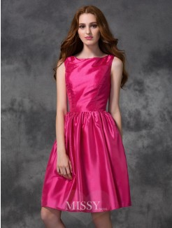 A-line/Princess Bateau Sleeveless Knee-length Ruched Taffeta Bridesmaid Dresses
