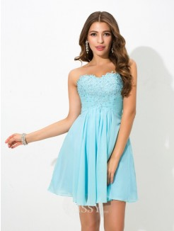 A-Line/Princess Sleeveless Sweetheart Beading Mini Chiffon Cocktail Dress