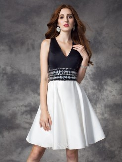 A-line/Princess Sleeveless V-neck Rhinestone Mini Satin Dress