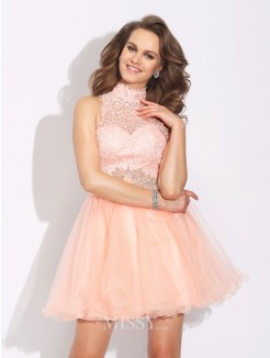 A-Line/Princess Sleeveless High Neck Beading Mini Net Dress