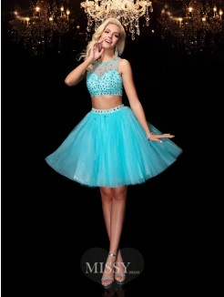 A-line/Princess Sleeveless Scoop Rhinestone Mini Net Dresses