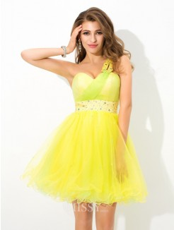 A-Line/Princess Sleeveless One-Shoulder Beading Mini Net Cocktail Dress